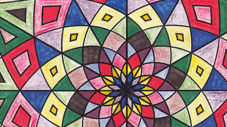 Detail of a hand-colored mandala