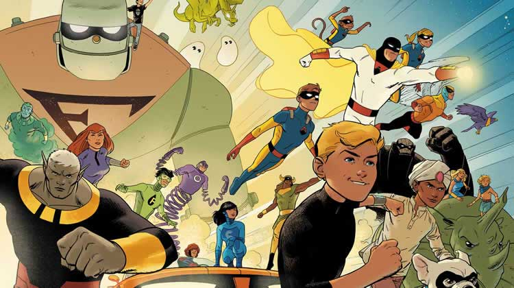 Jeff Parker, Wayne Hall, Wayne's Comics, Aquaman, Batman, Adam West, Mera, Justice League, Robin, Mightor, Herculoids, Jonny Quest, Space Ghost, Birdman, Future Quest