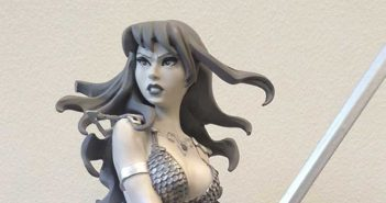 Black and White Red Sonja Statue based on the art of Amanda Conner