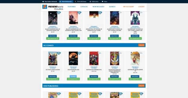 Diamond Comic Distributors Online Pullbox
