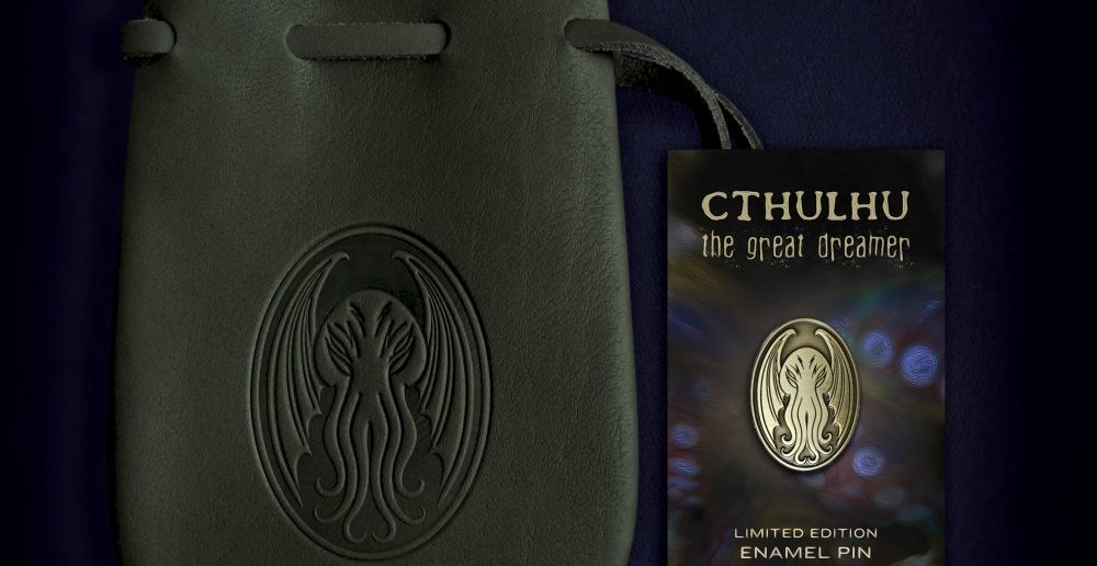 Cthulhu pin and leather pouch