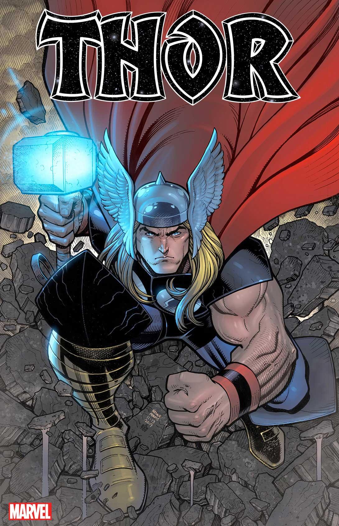 Dessin de Thor tenant son marteau et vêtu de son casque
