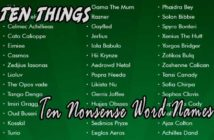 Ten Nonsense Word Names Ten Things