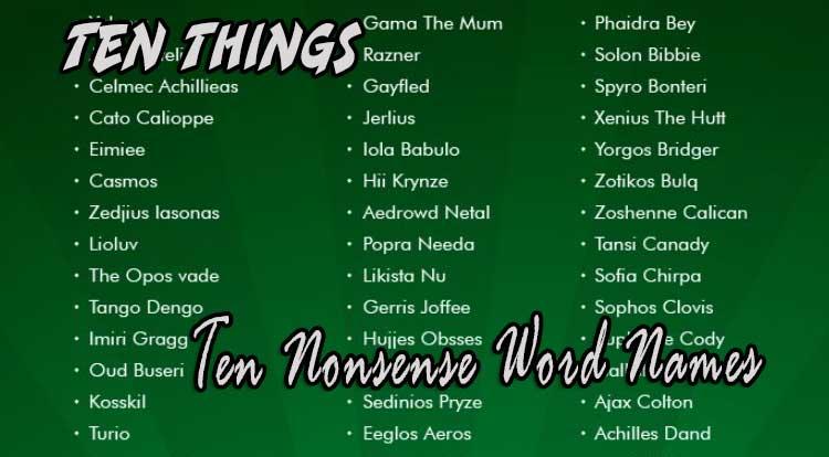 Ten Nonsense Word Names Ten Things